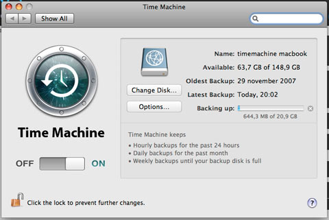 apple timemachine is dom