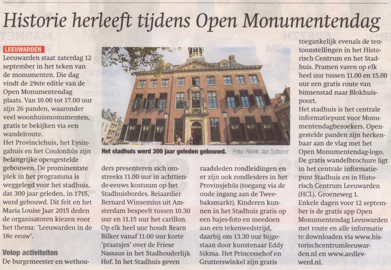 Open monumentendag 12 september 2016 huis aan huis