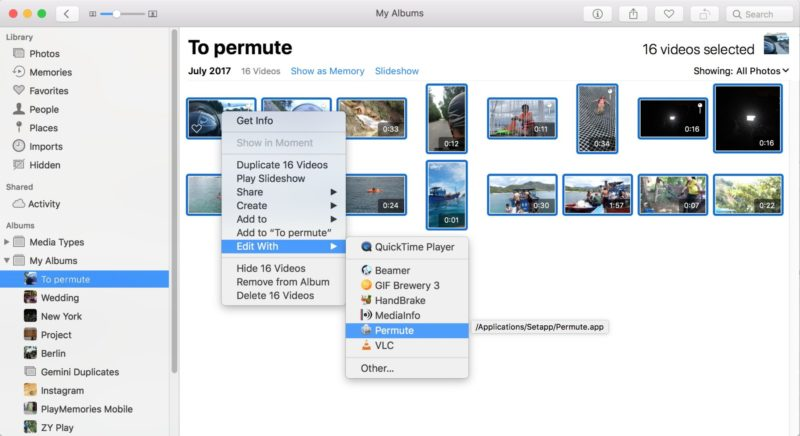 Choose the video's you want to encode and edit with permute