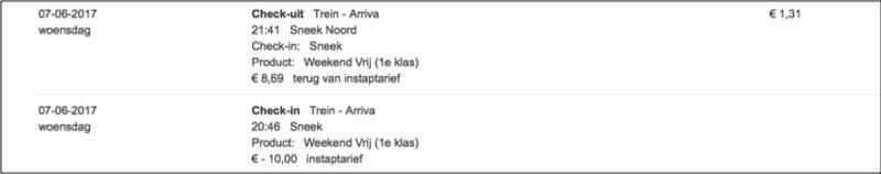 Afbeelding: U ziet hierboven het bewijs vanaf www.ov-chipkaart.nl dat ik was ingecheckt en dat ik ben uitgecheckt op het moment dat de trein op station Sneek-noord kwam binnenrijden.